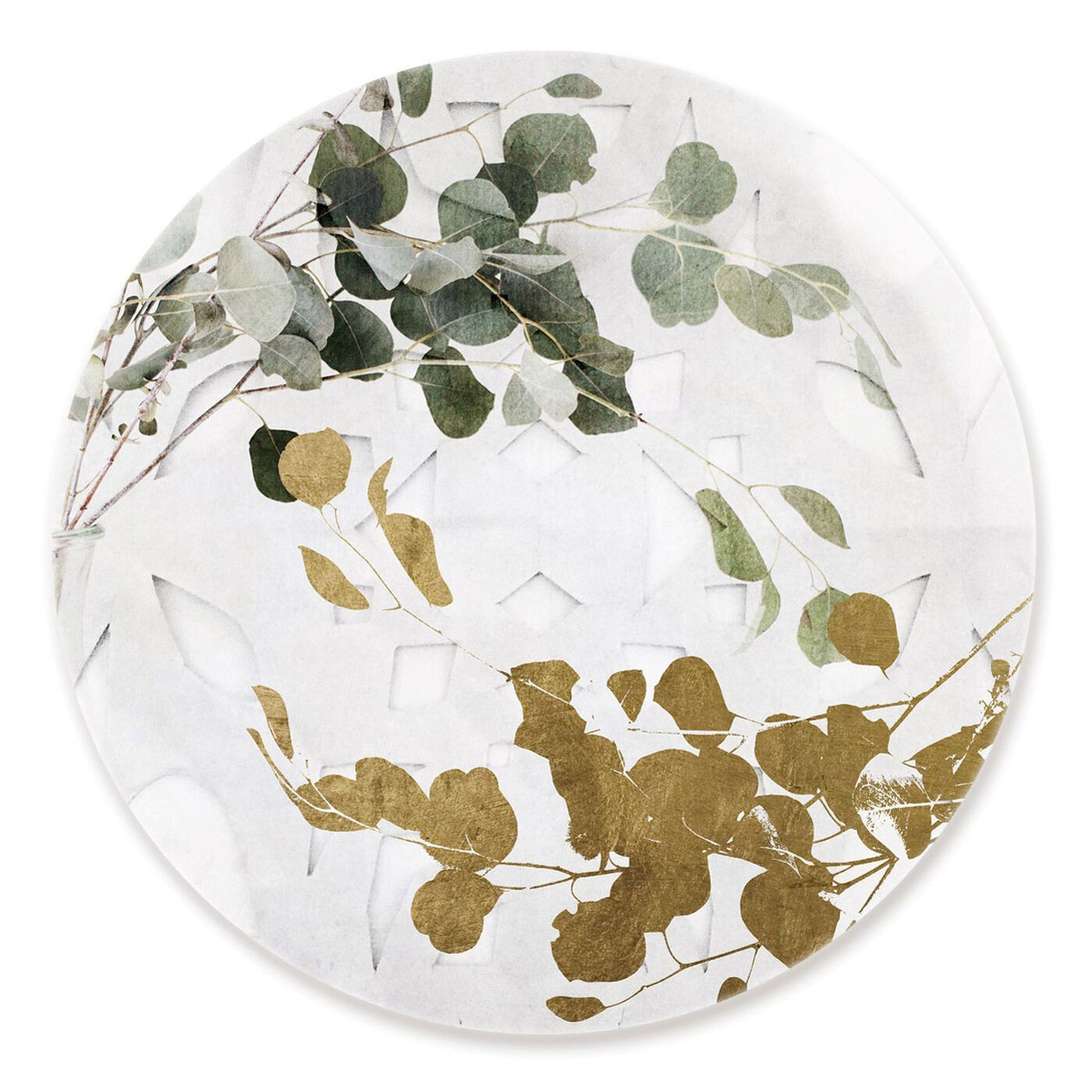 Front view of Golden Leaves Circle featuring floral and botanical and botanicals art.