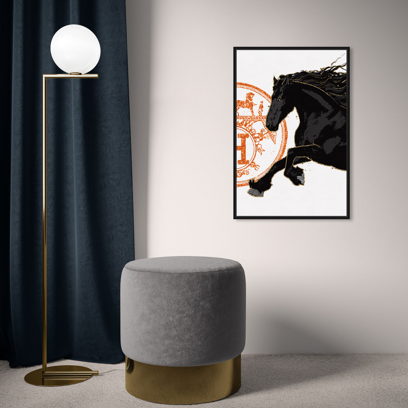Hanging view of Black Cavalier II featuring fashion and glam and fashion lifestyle art.