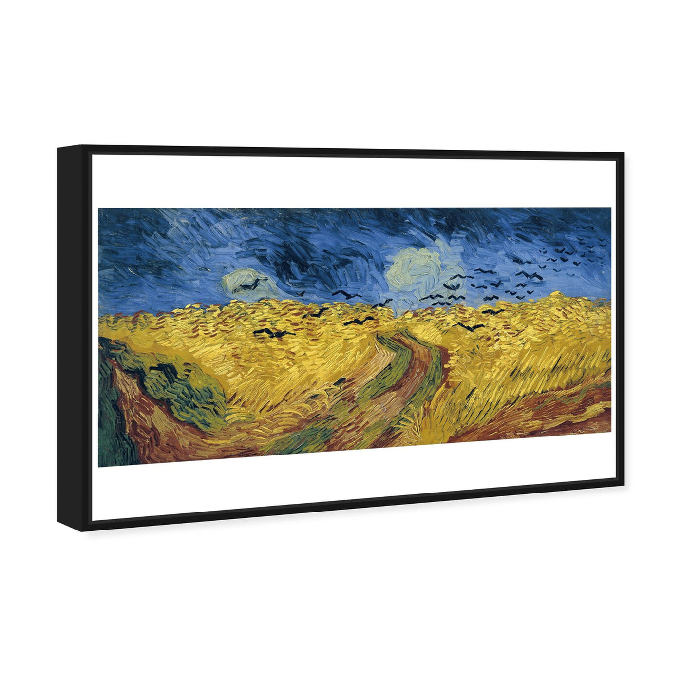 Angled view of Van Gogh - Wheatfield with Crows featuring classic and figurative and impressionism art.