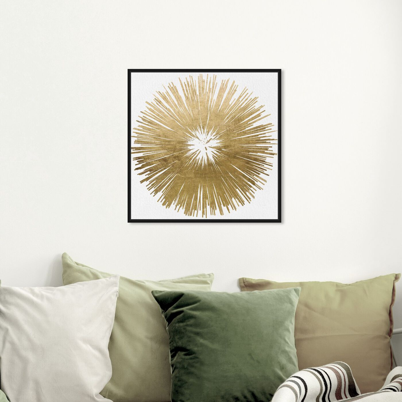 Hanging view of Sunburst Golden featuring symbols and objects and symbols art.