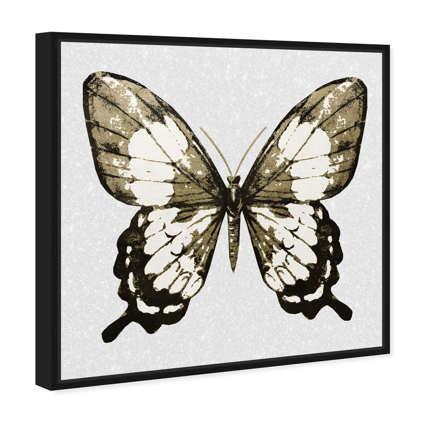 Angled view of Butterfly Gold and Black featuring animals and insects art.