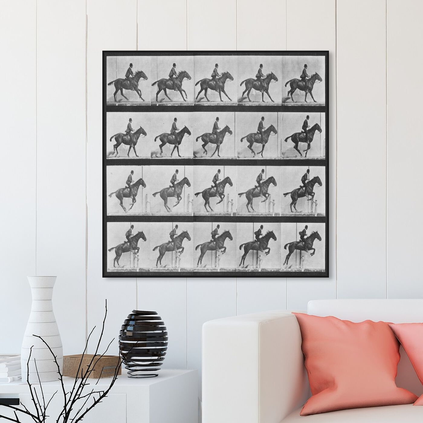 Hanging view of Stages of a Jumping Horse featuring animals and farm animals art.