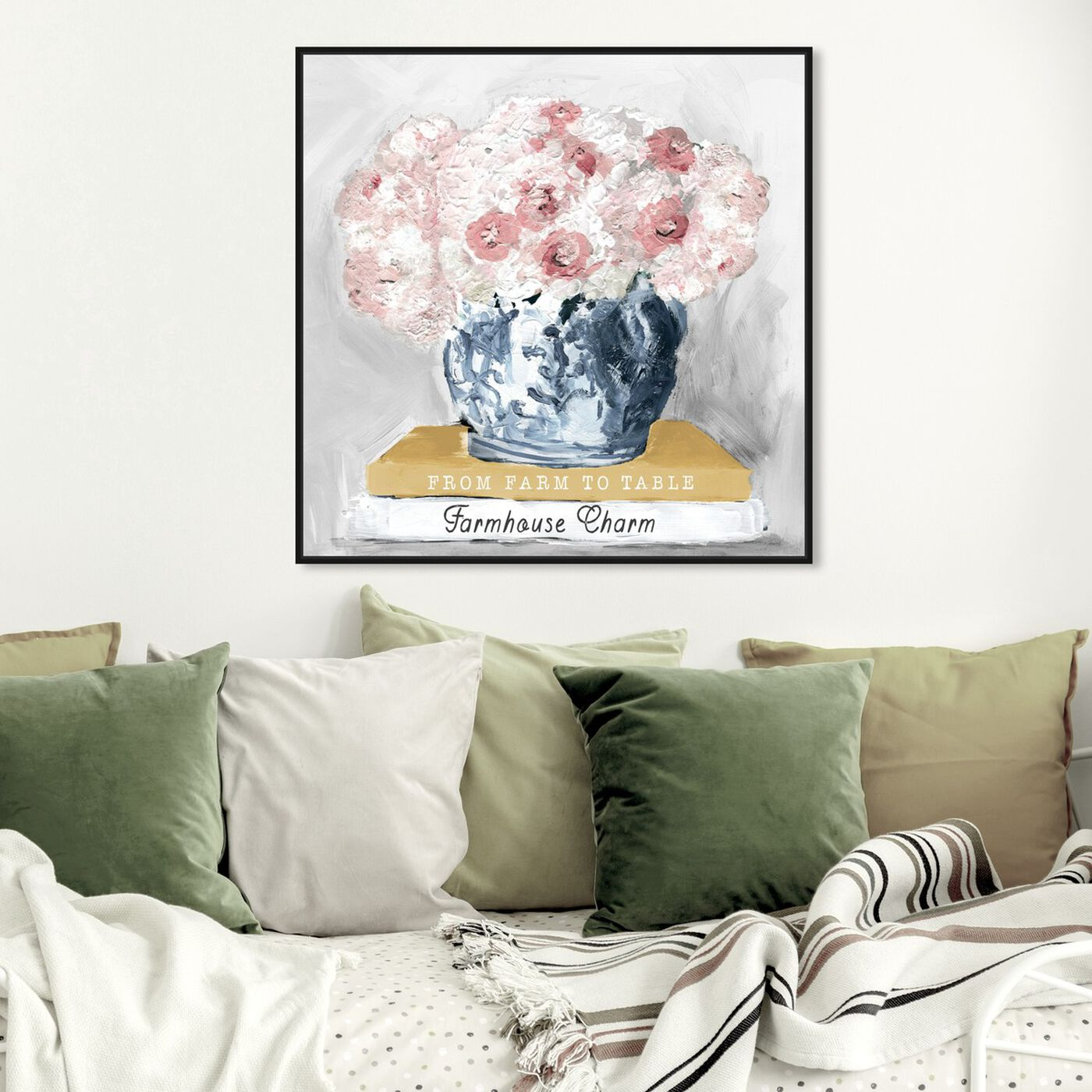 Hanging view of Farm House Charm Books featuring floral and botanical and florals art.