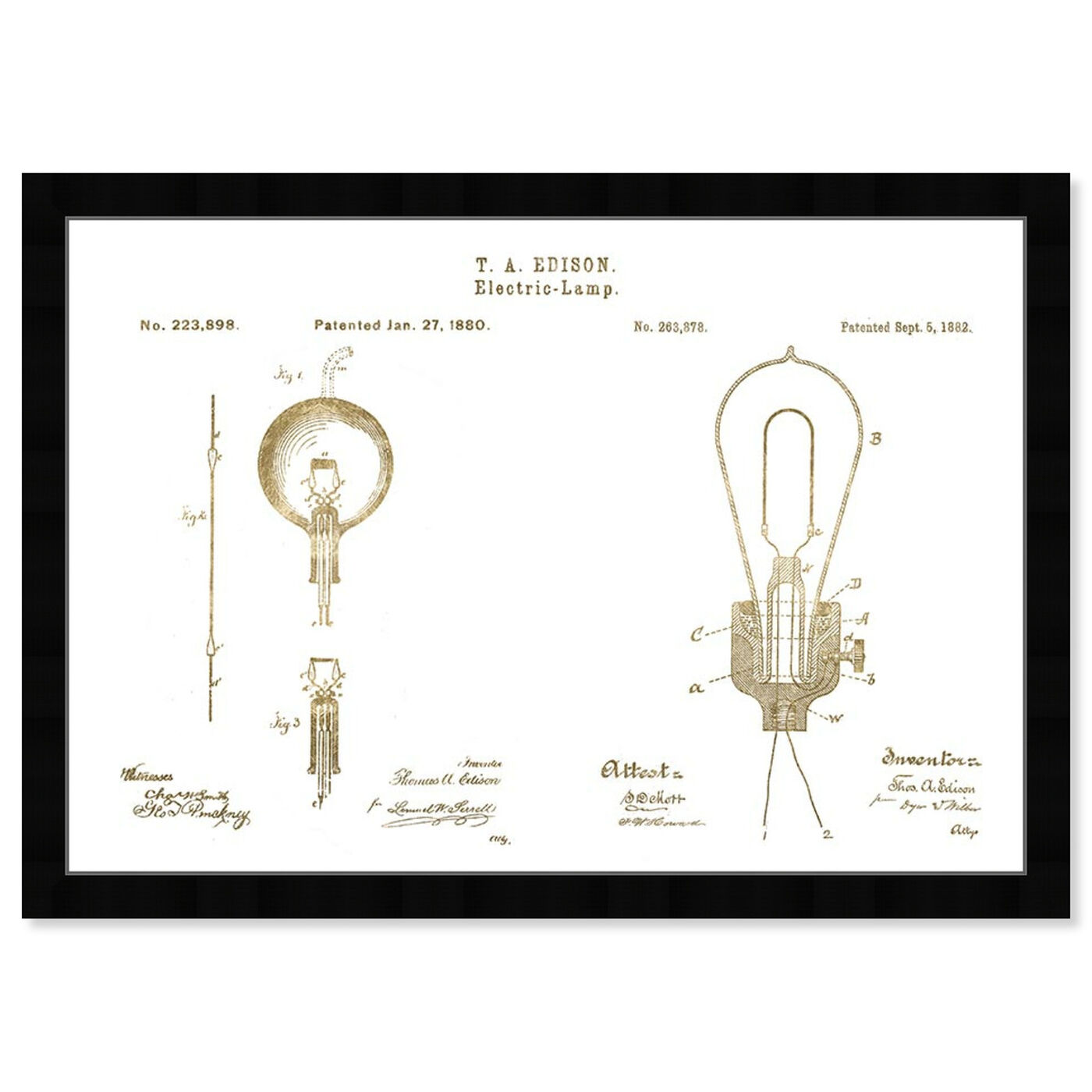Front view of Vintage Electric Lamps, Gold Foil featuring architecture and buildings and structures art.