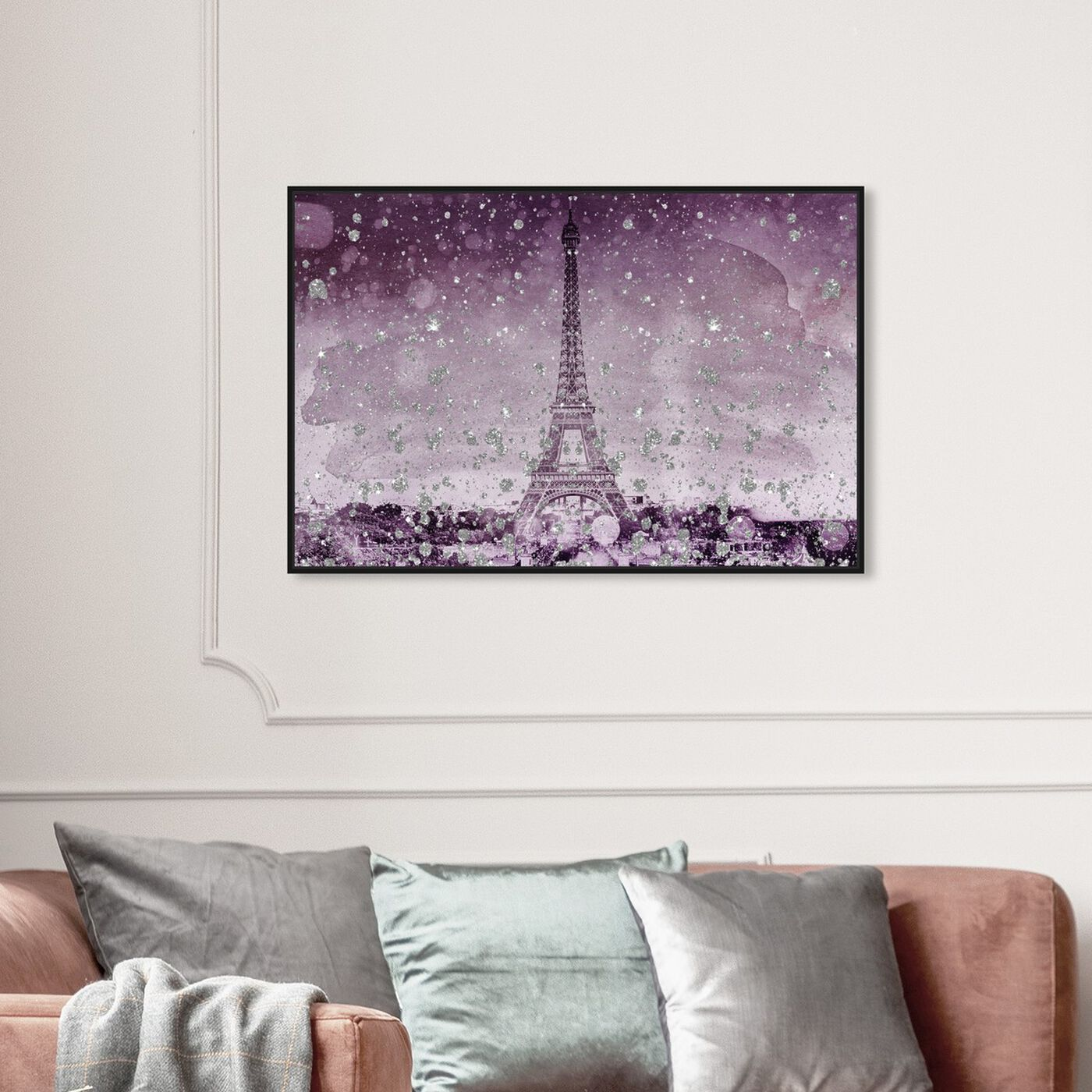 Hanging view of Eiffel Glitter Plum featuring cities and skylines and european cities art.