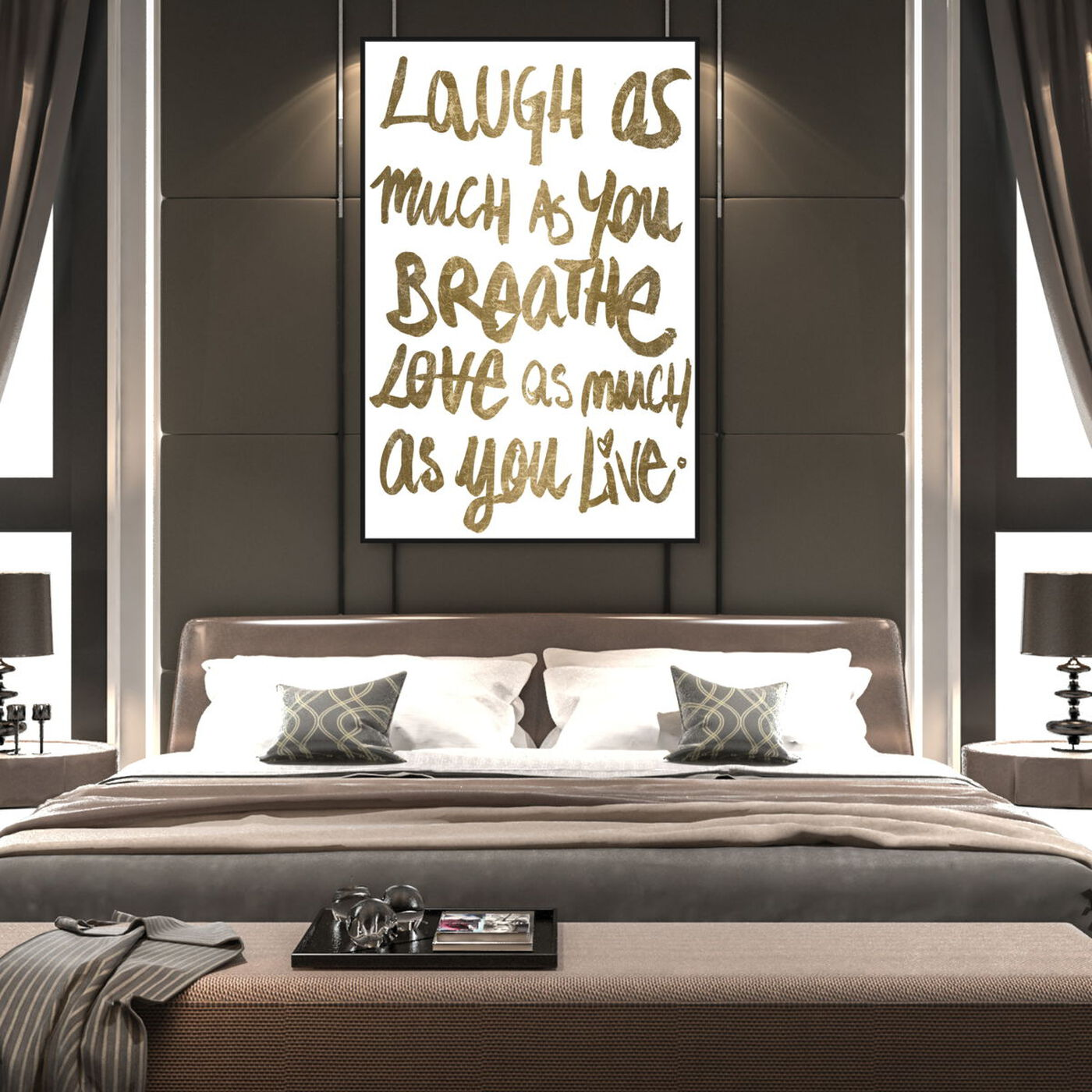 Hanging view of Laugh Gold featuring typography and quotes and love quotes and sayings art.