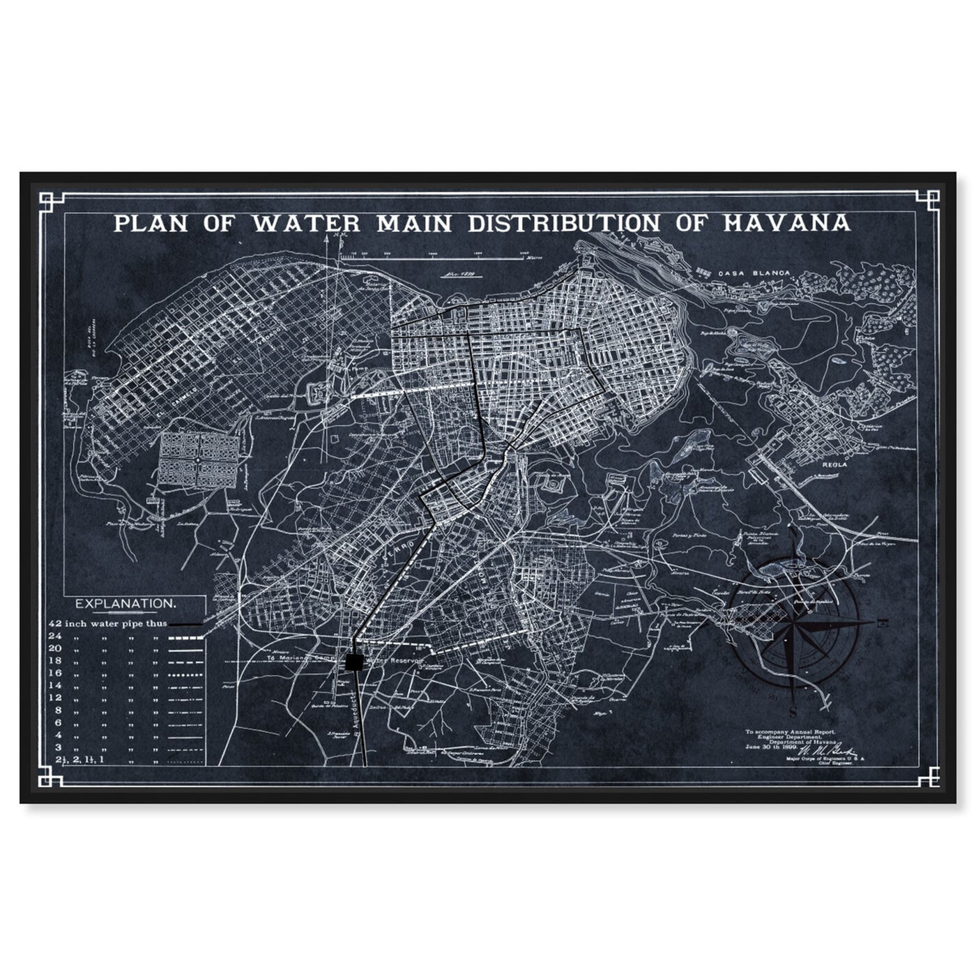 Front view of Map of Havana Water Distribution 1899 featuring maps and flags and american countries maps art.