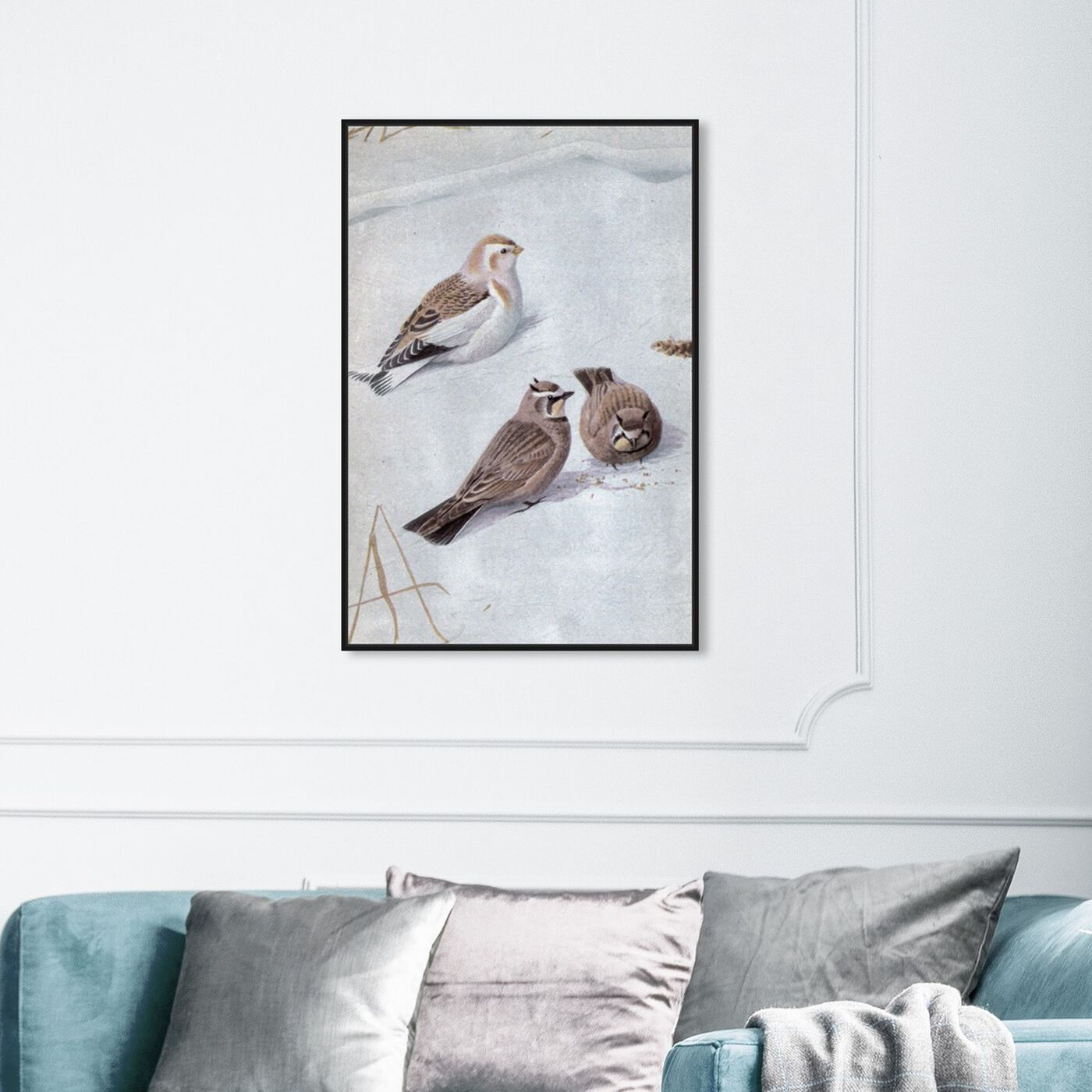 Hanging view of Birds in the Snow featuring animals and birds art.