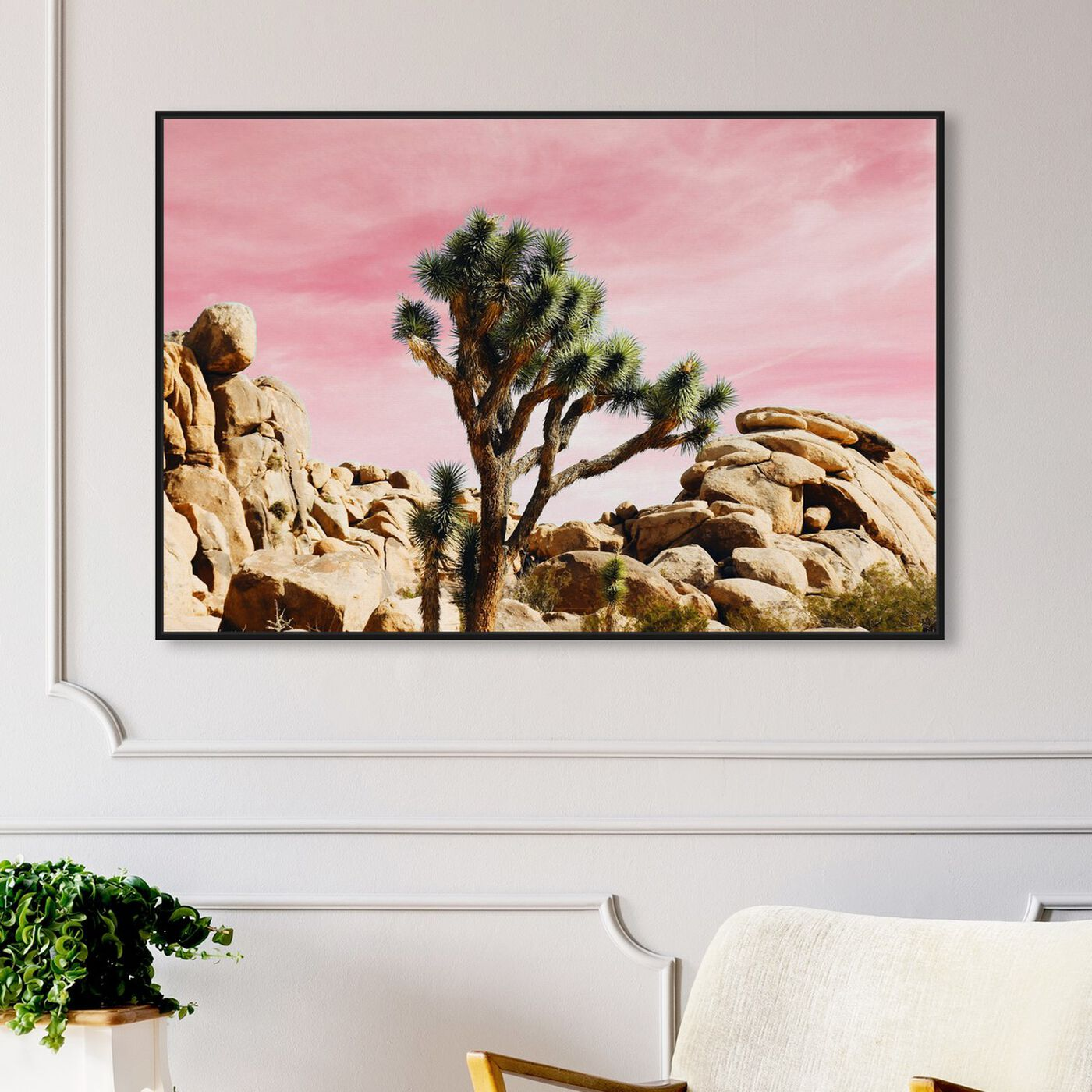 Hanging view of Joshua Tree Pink featuring nature and landscape and desert landscapes art.