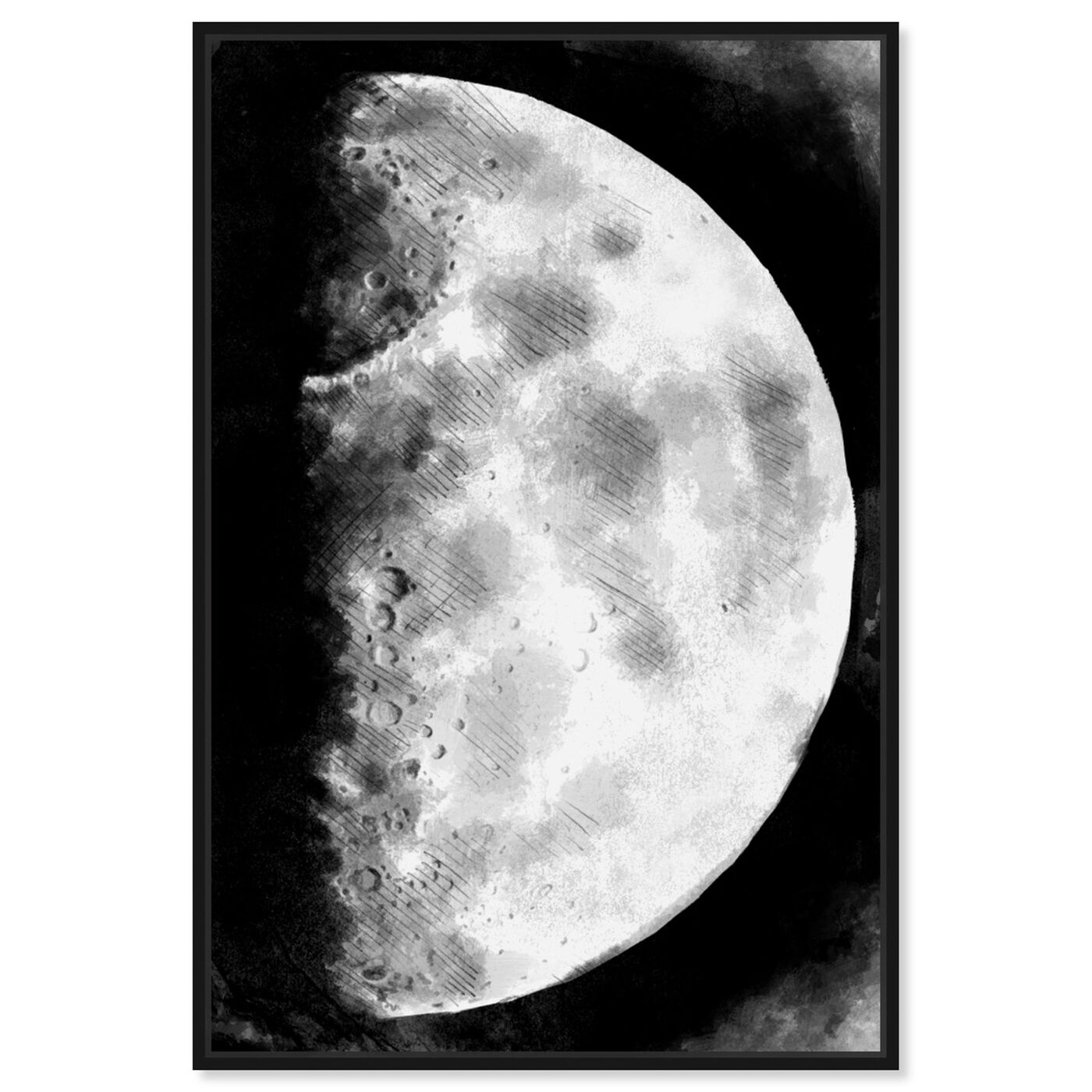 Front view of Moon Sketch featuring astronomy and space and moons art.
