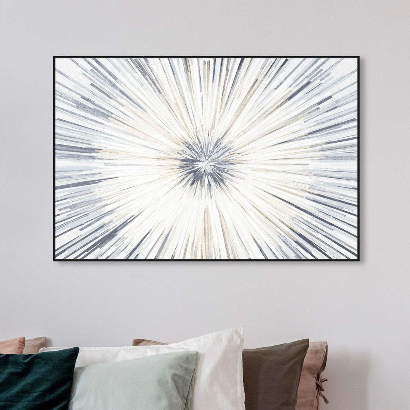 Hanging view of Sunburst Blue Pale featuring abstract and paint art.
