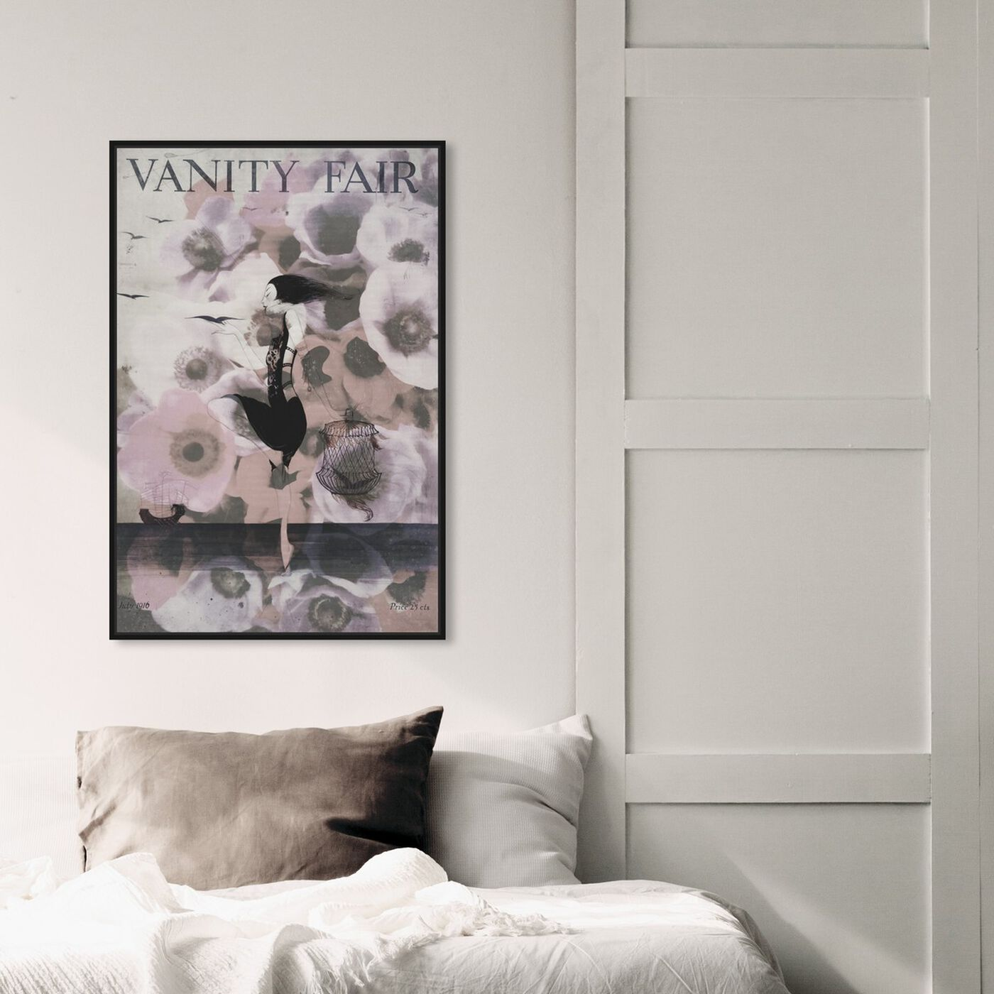 Hanging view of Vanity Fair featuring advertising and publications art.