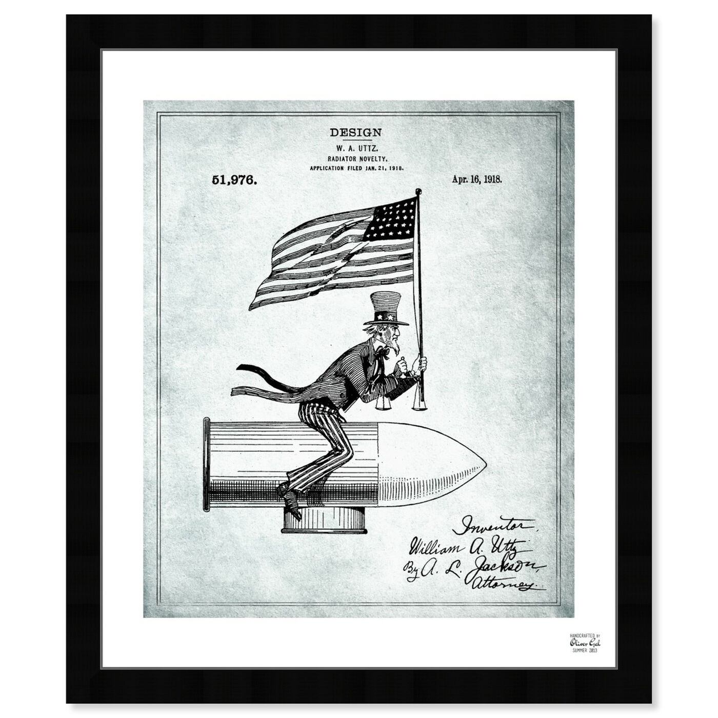 Front view of Uncle Sam Radiator Novelty 1918 featuring americana and patriotic and us flags art.