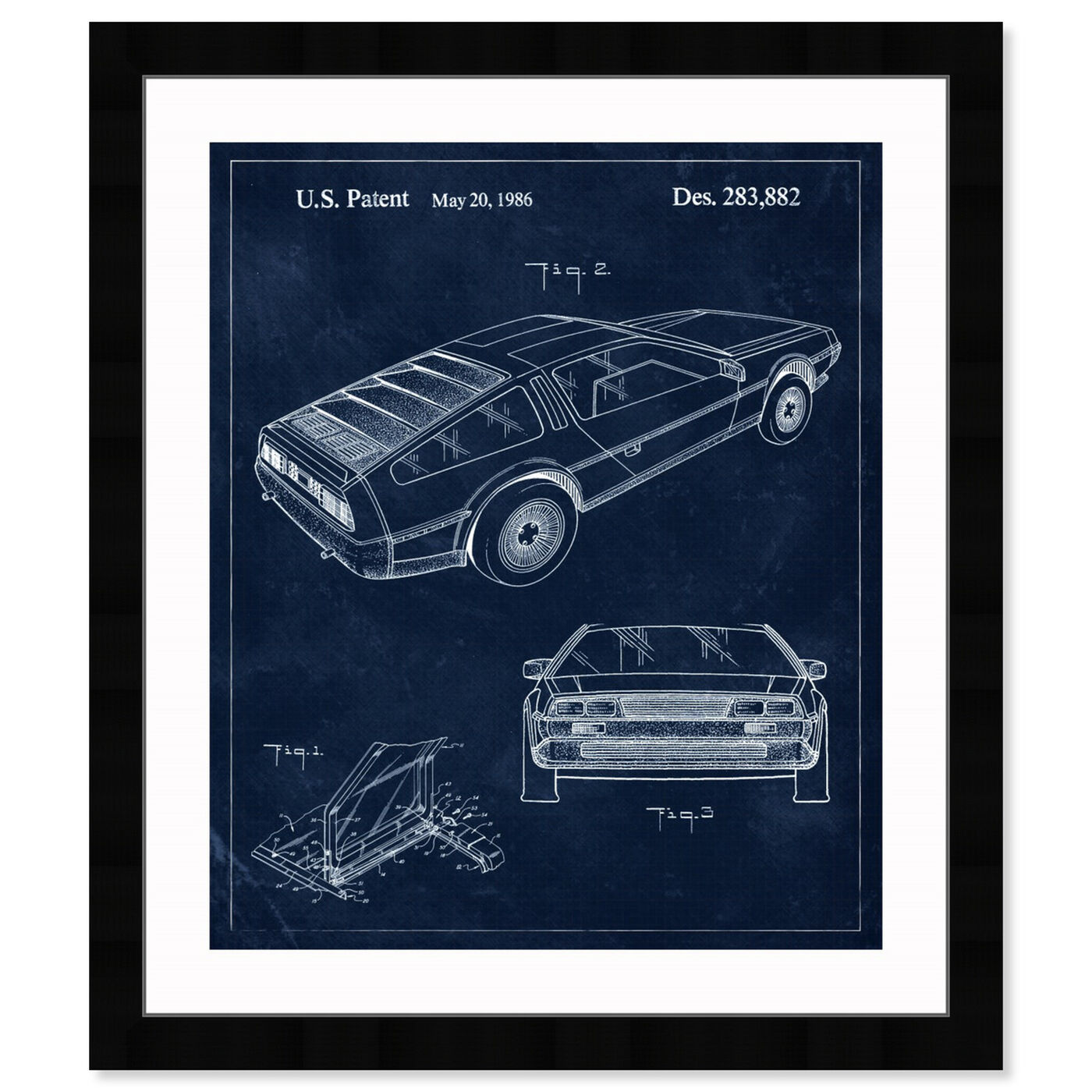 Front view of Delorean, 1986 II featuring transportation and automobiles art.