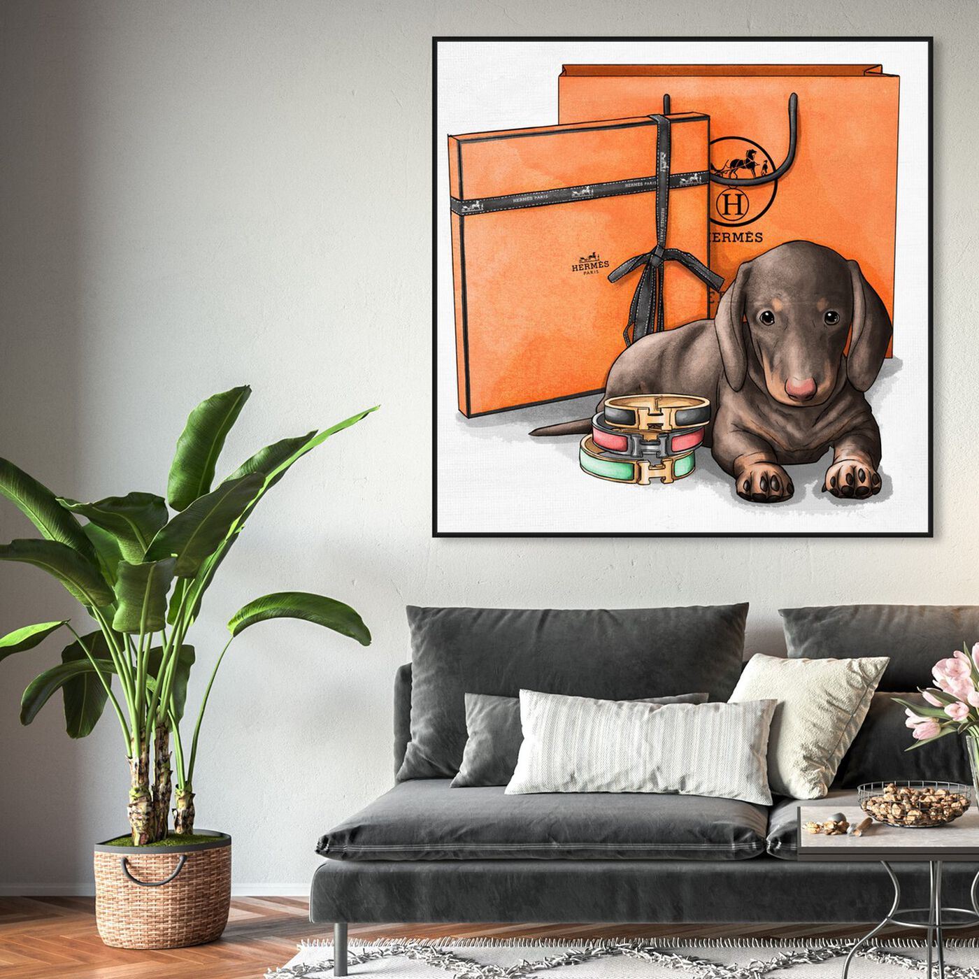 Hanging view of Fancy Doxie featuring animals and dogs and puppies art.
