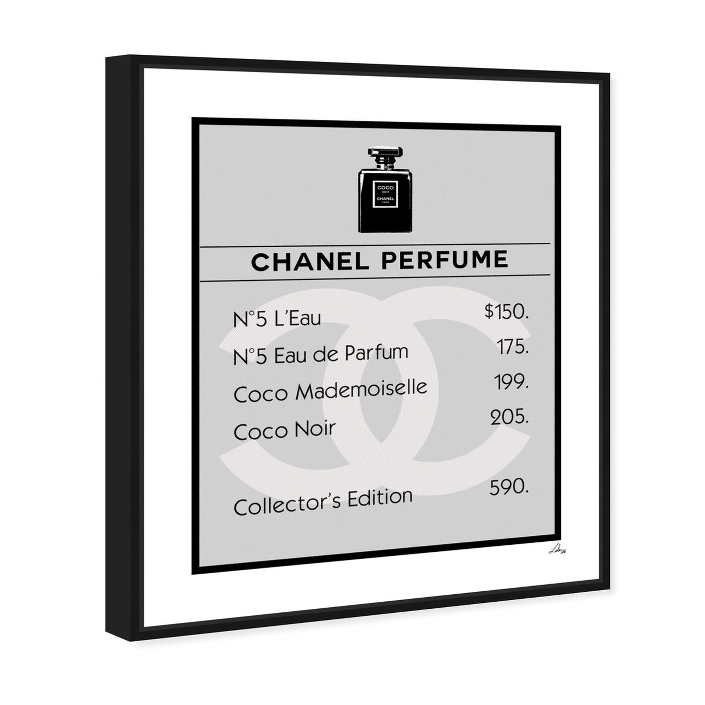 Angled view of Property Card N5 featuring fashion and glam and perfumes art.