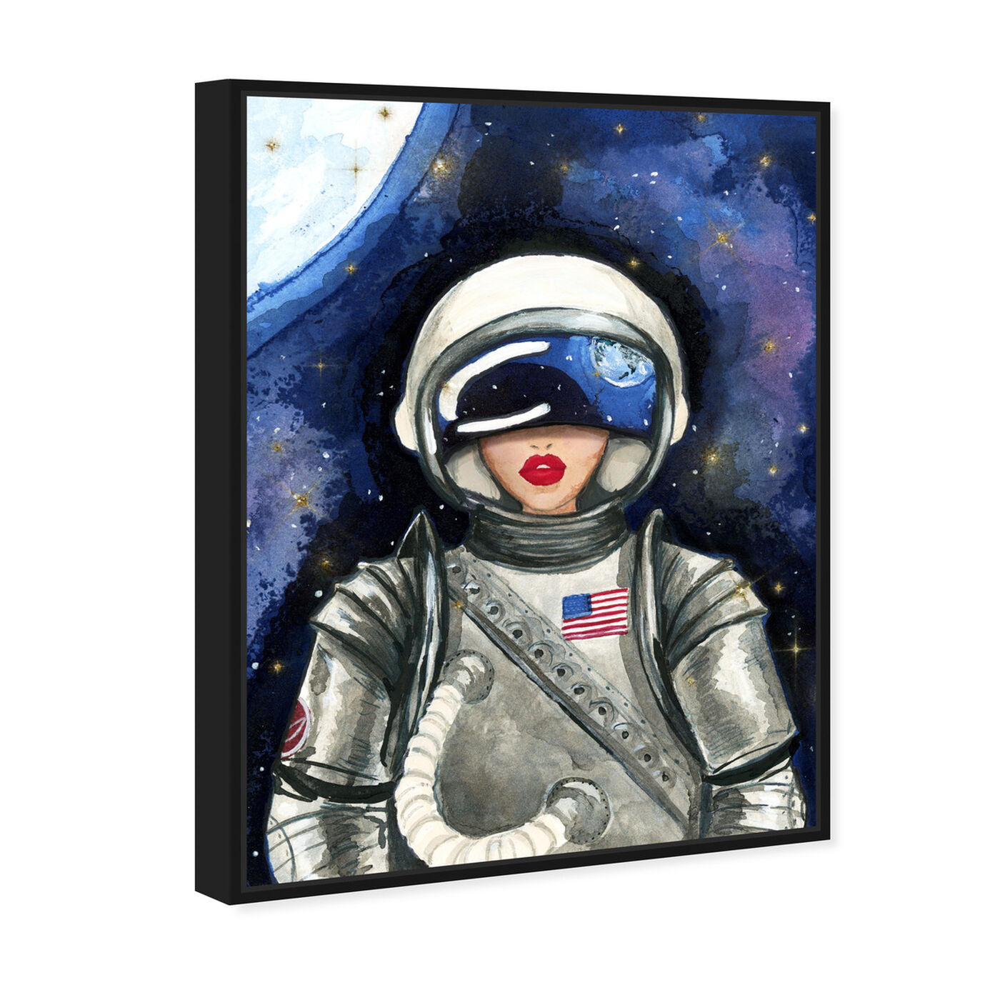Angled view of Astronaut Lips featuring fashion and glam and lips art.