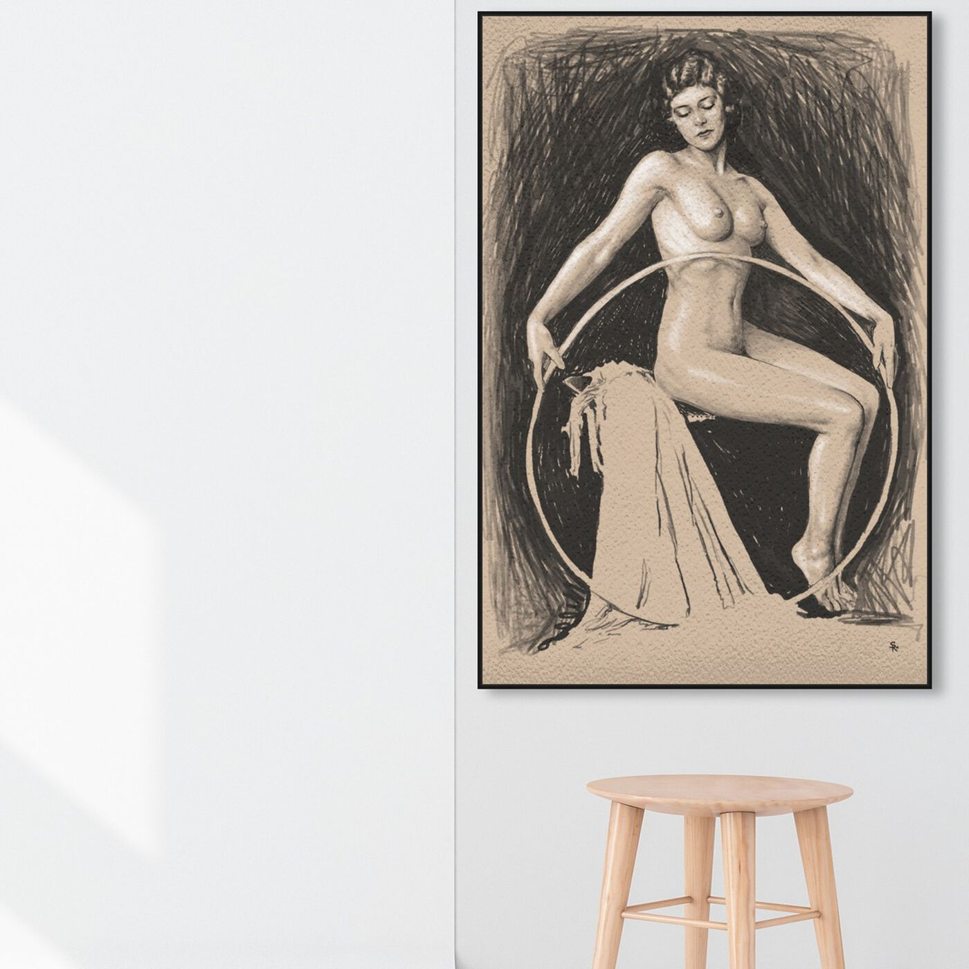 Hanging view of Nude Woman with Hoop featuring classic and figurative and nudes art.