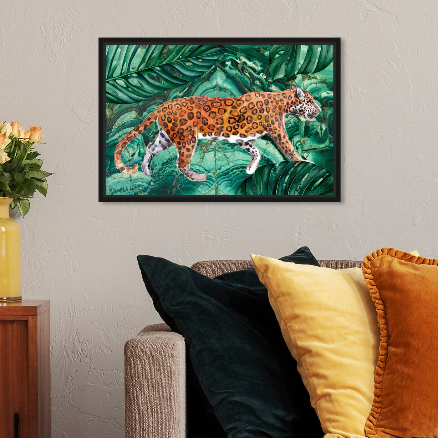 Hanging view of Cougar Jungle featuring animals and felines art.