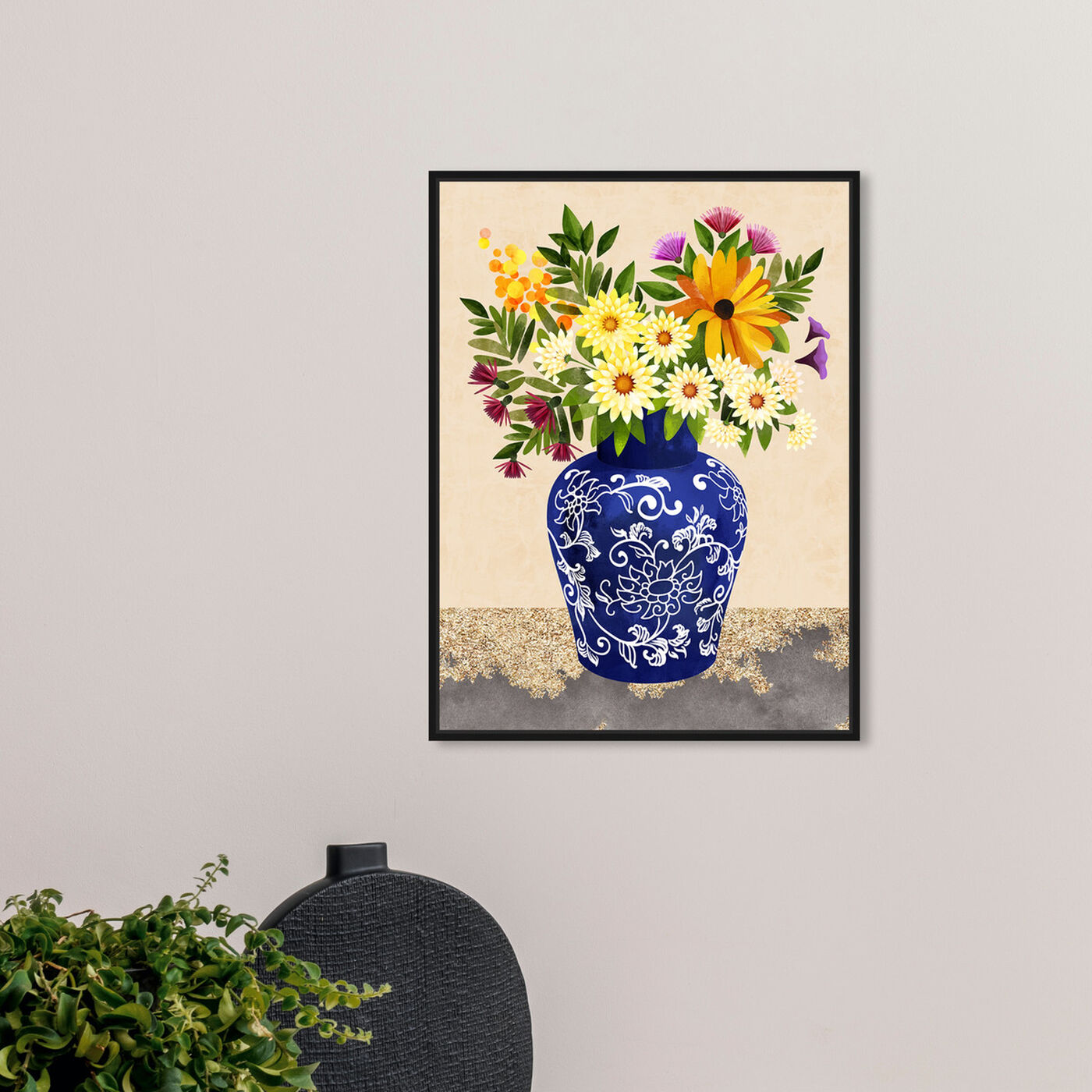 Hanging view of Flor Porcelain II featuring floral and botanical and florals art.