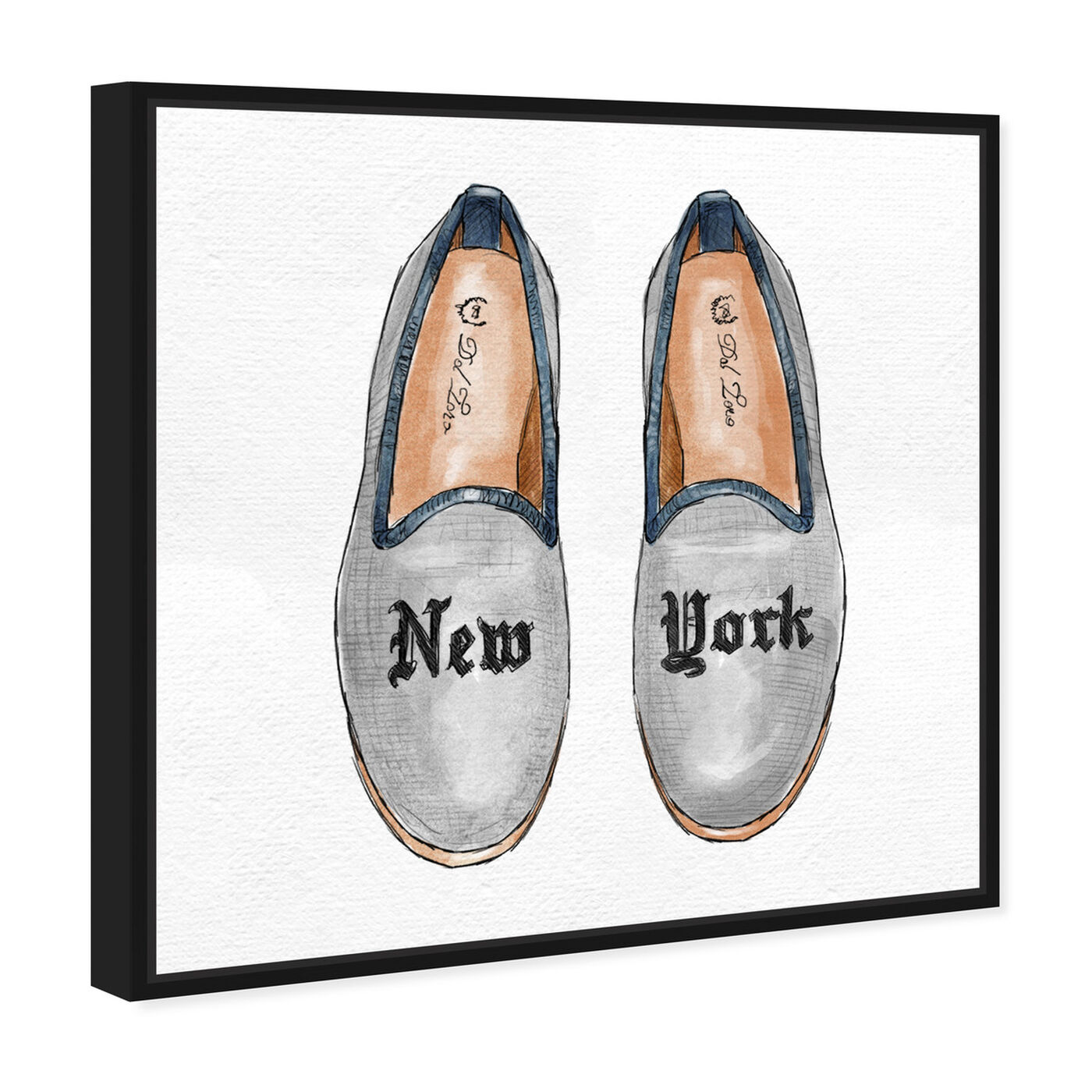 Angled view of New York Slippers featuring fashion and glam and shoes art.