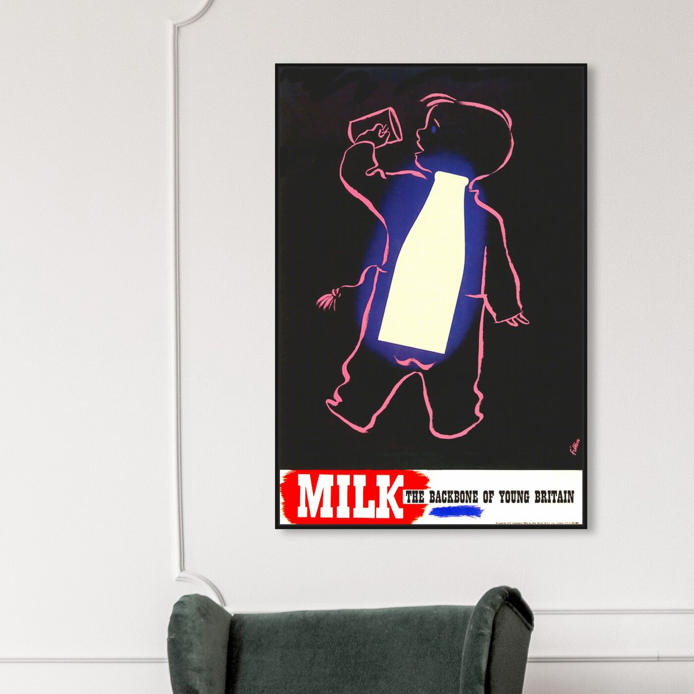Hanging view of Milk featuring advertising and posters art.