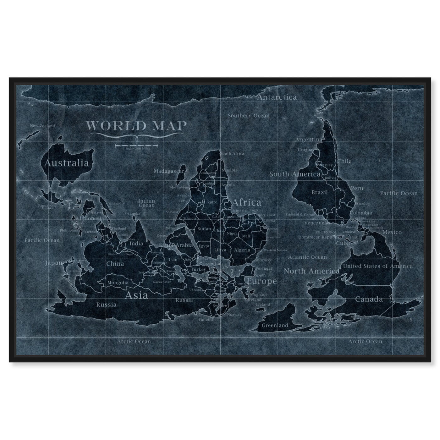Front view of Upside-Down Map of the World Noir featuring maps and flags and world maps art.