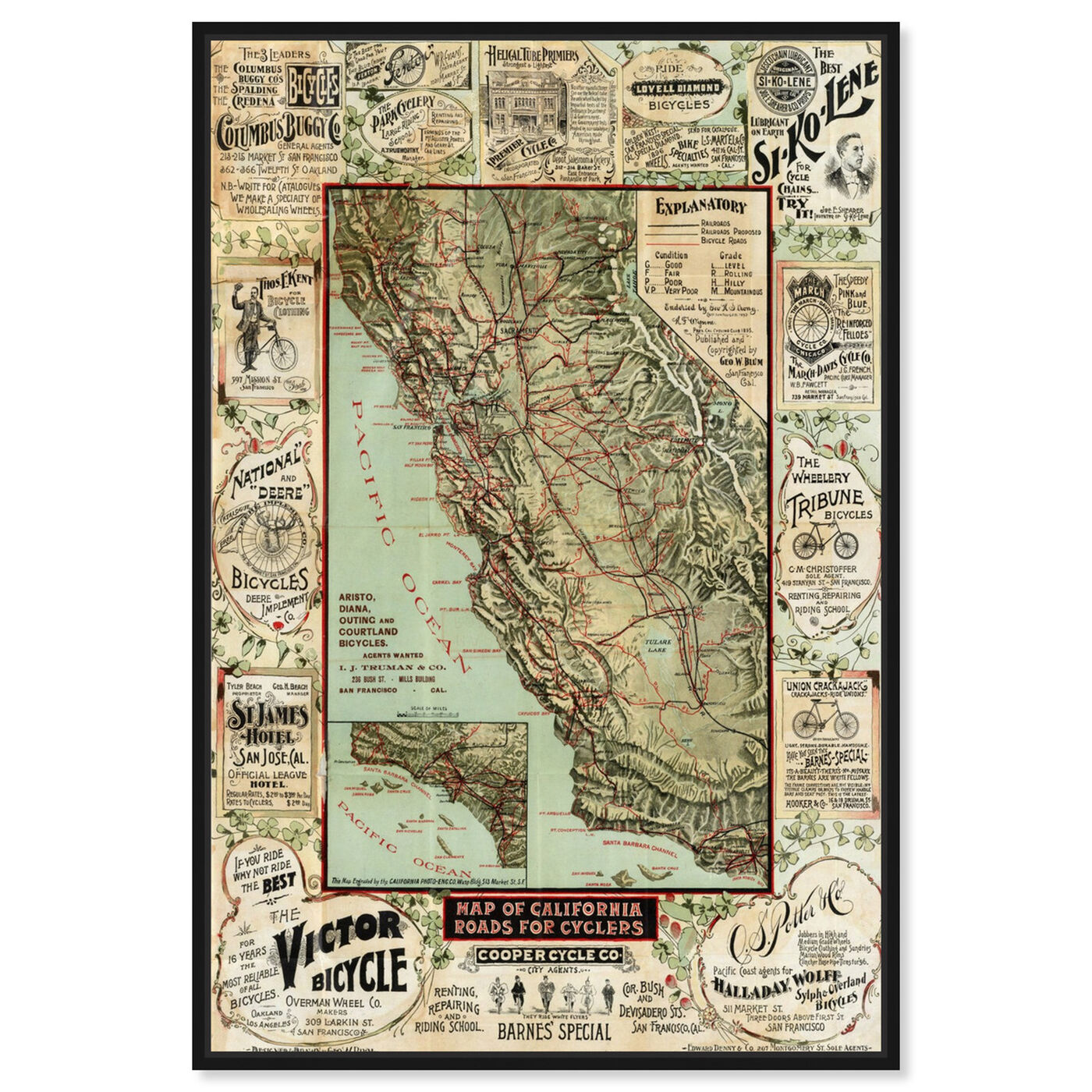 Front view of Map of California 1896 for Cyclers featuring maps and flags and us states maps art.