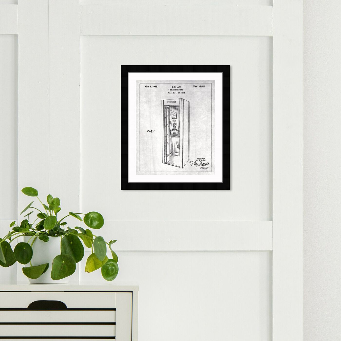 Hanging view of Telephone Booth 1943 featuring cities and skylines and european cities art.