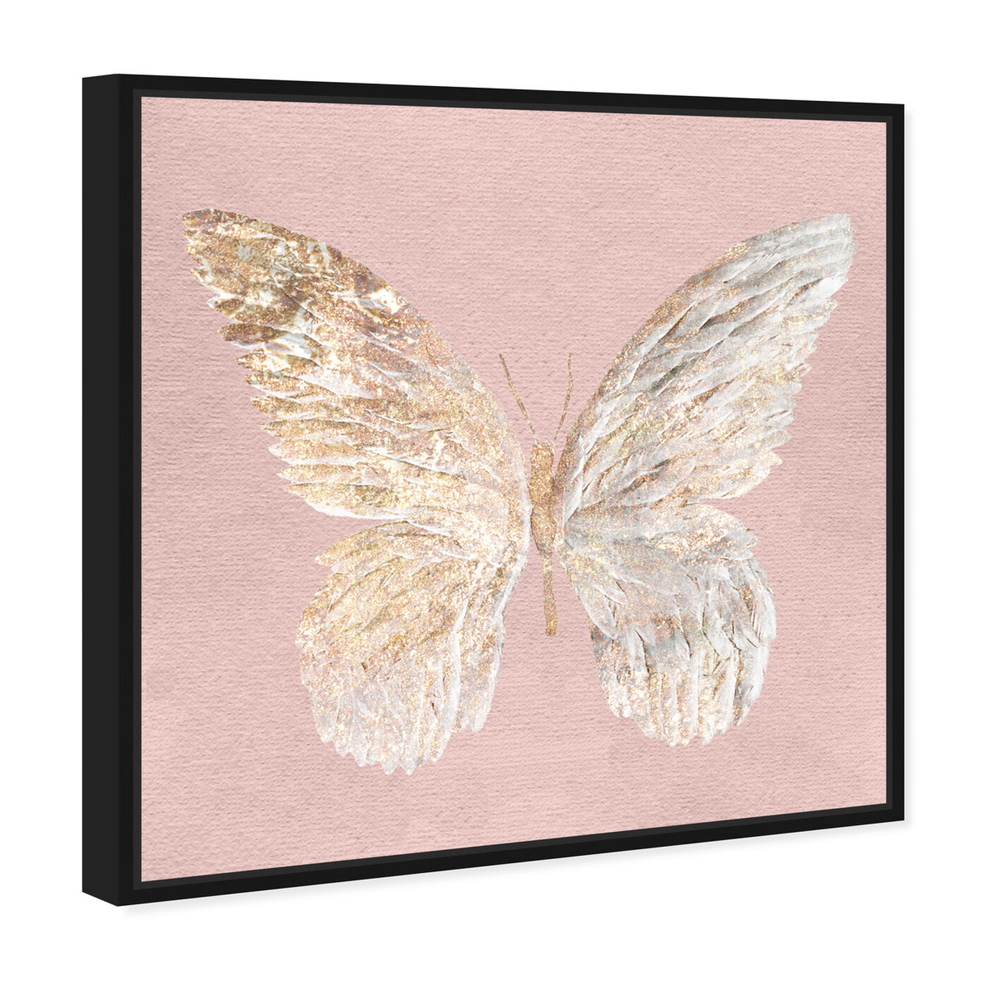 Angled view of Golden Butterfly Glimmer Blush featuring animals and insects art.