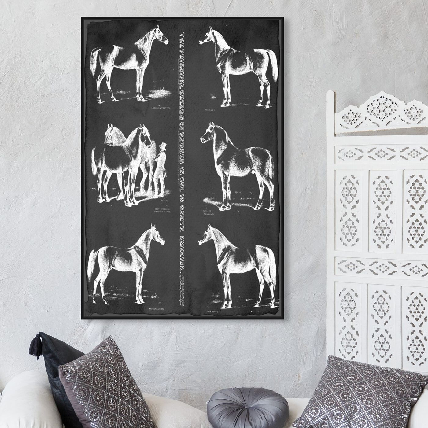 Hanging view of Principal Horse Breeds featuring animals and farm animals art.