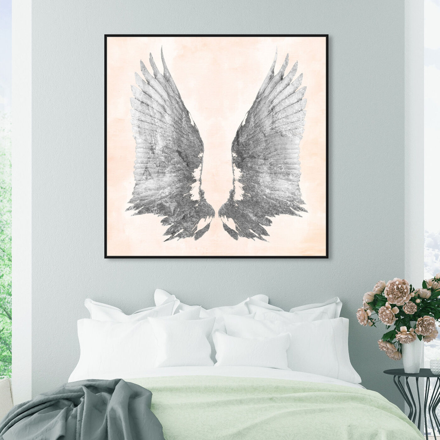 Hanging view of Pink Silver Wings featuring fashion and glam and feathers art.