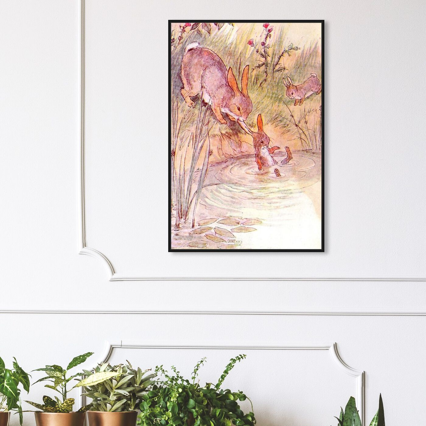 Hanging view of Bunny Fell in the Pond featuring animals and farm animals art.
