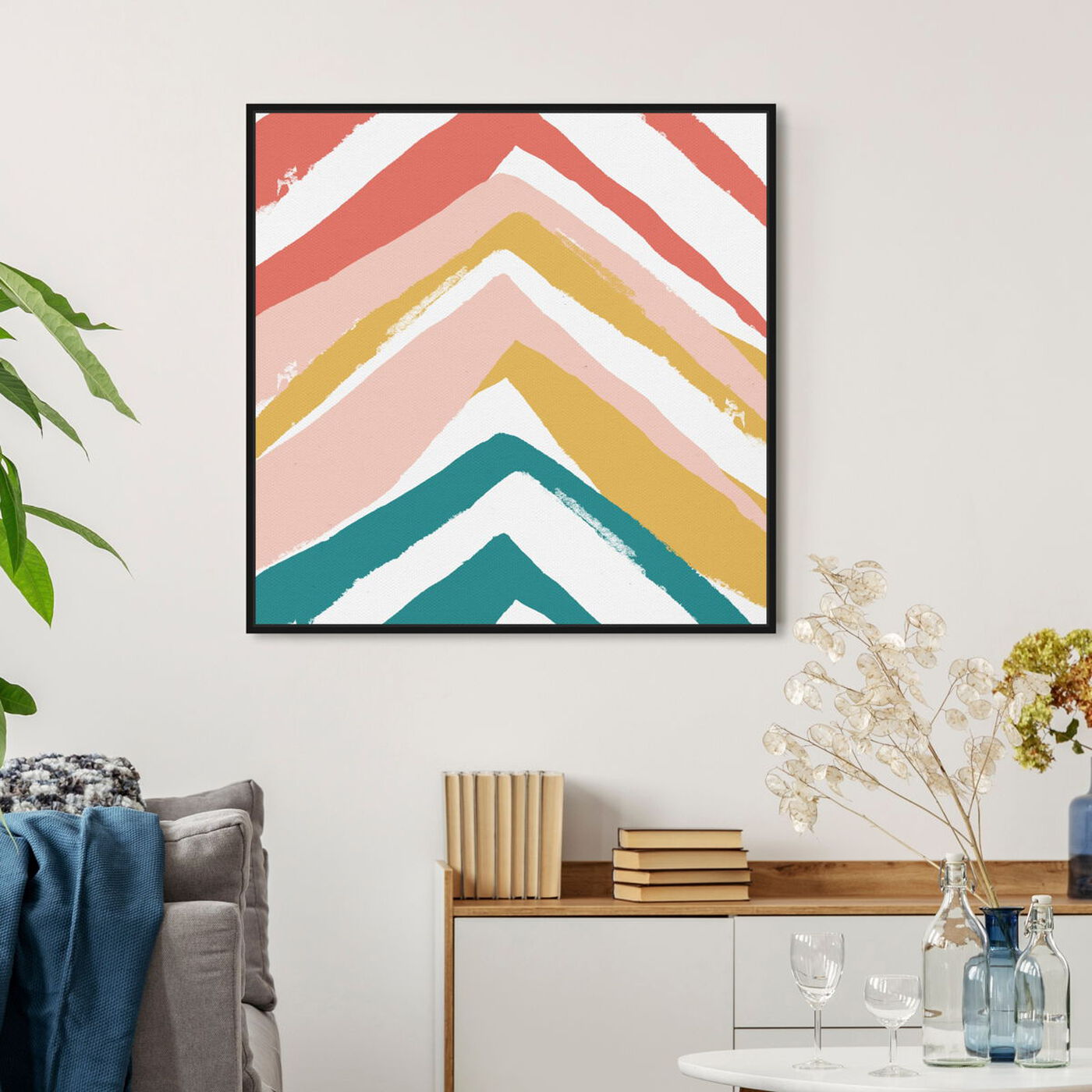 Hanging view of Mid Century Pyramids featuring abstract and paint art.
