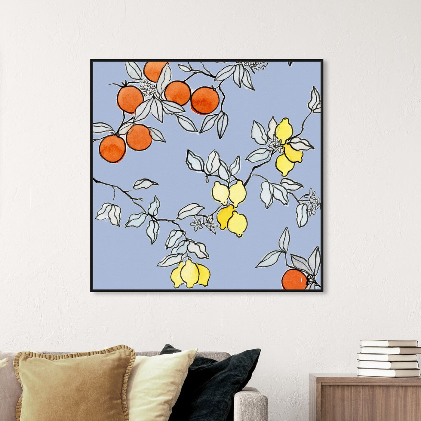 Hanging view of Lemon tree featuring food and cuisine and fruits art.