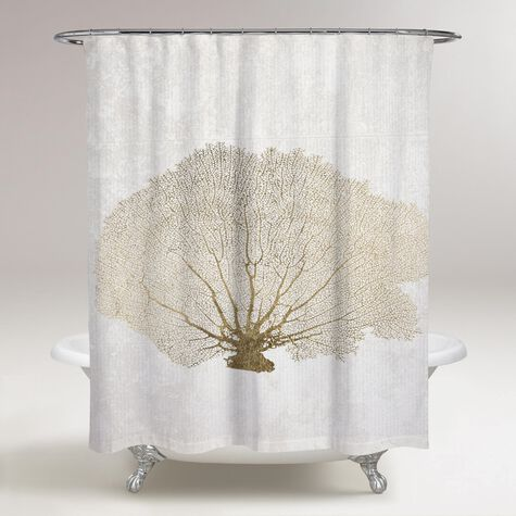 Gold Coral Fan Shower Curtain