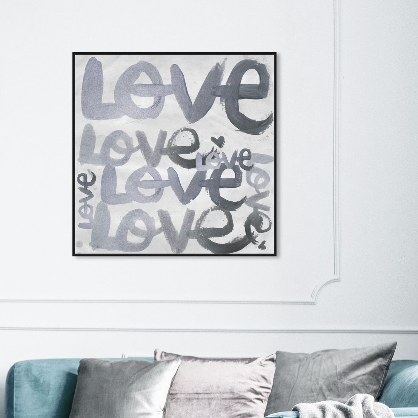 Hanging view of Four Letter Word Silver featuring typography and quotes and love quotes and sayings art.