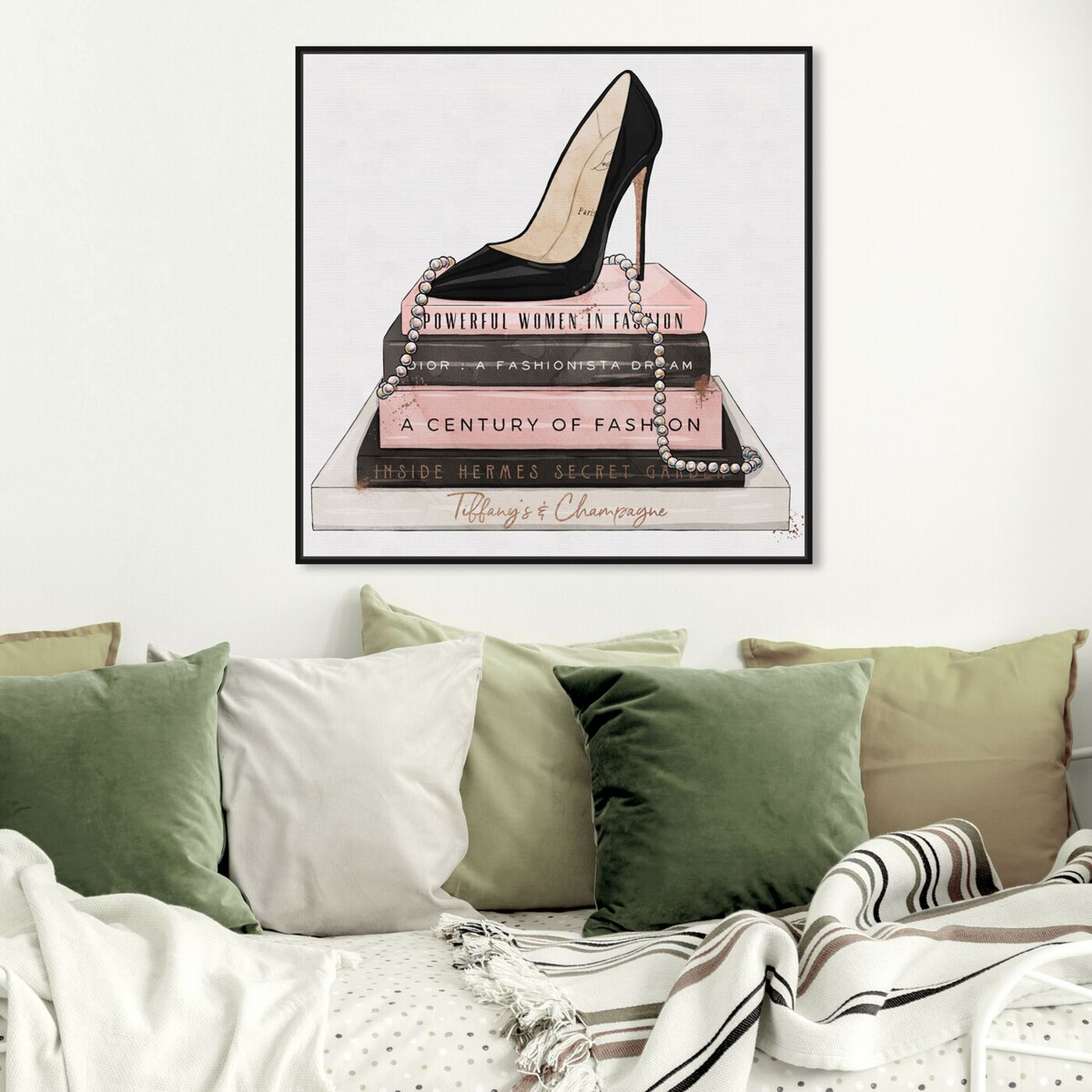 Hanging view of Classic Stiletto and High Fashion Books featuring fashion and glam and shoes art.