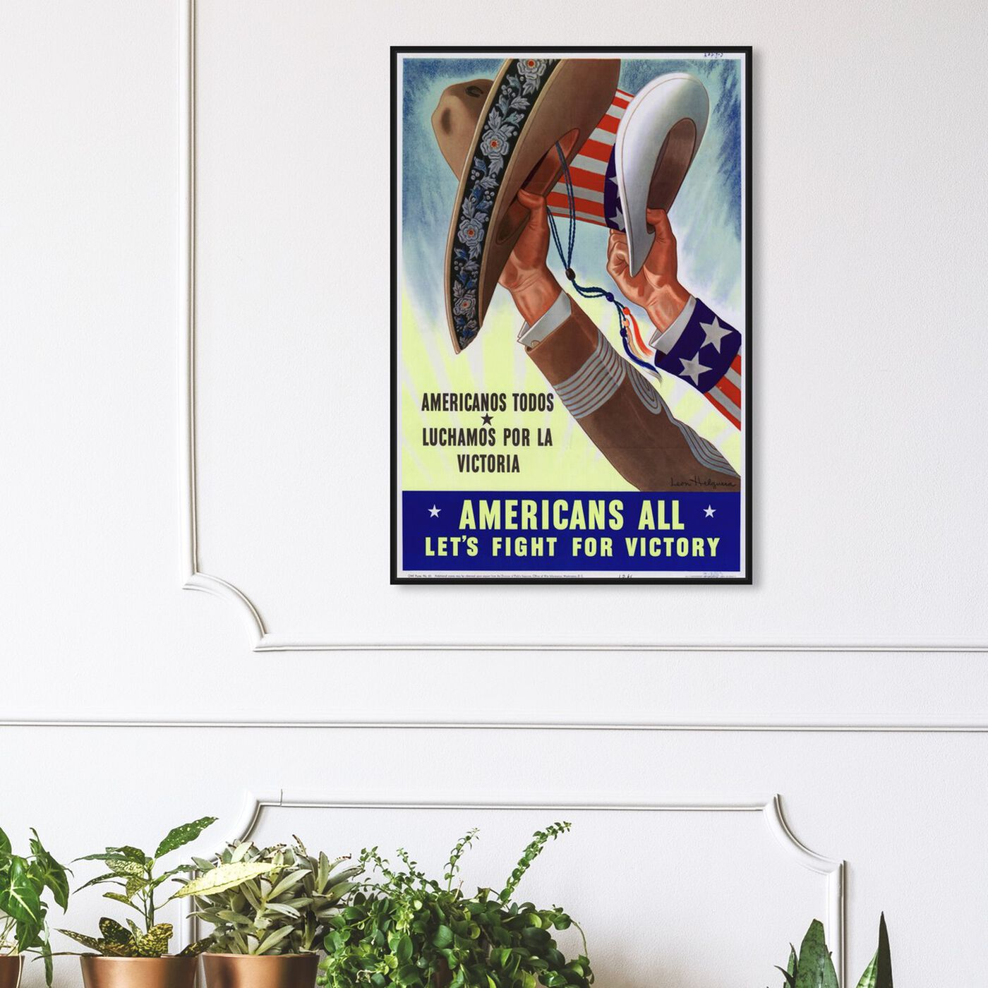 Hanging view of Americans All featuring advertising and posters art.