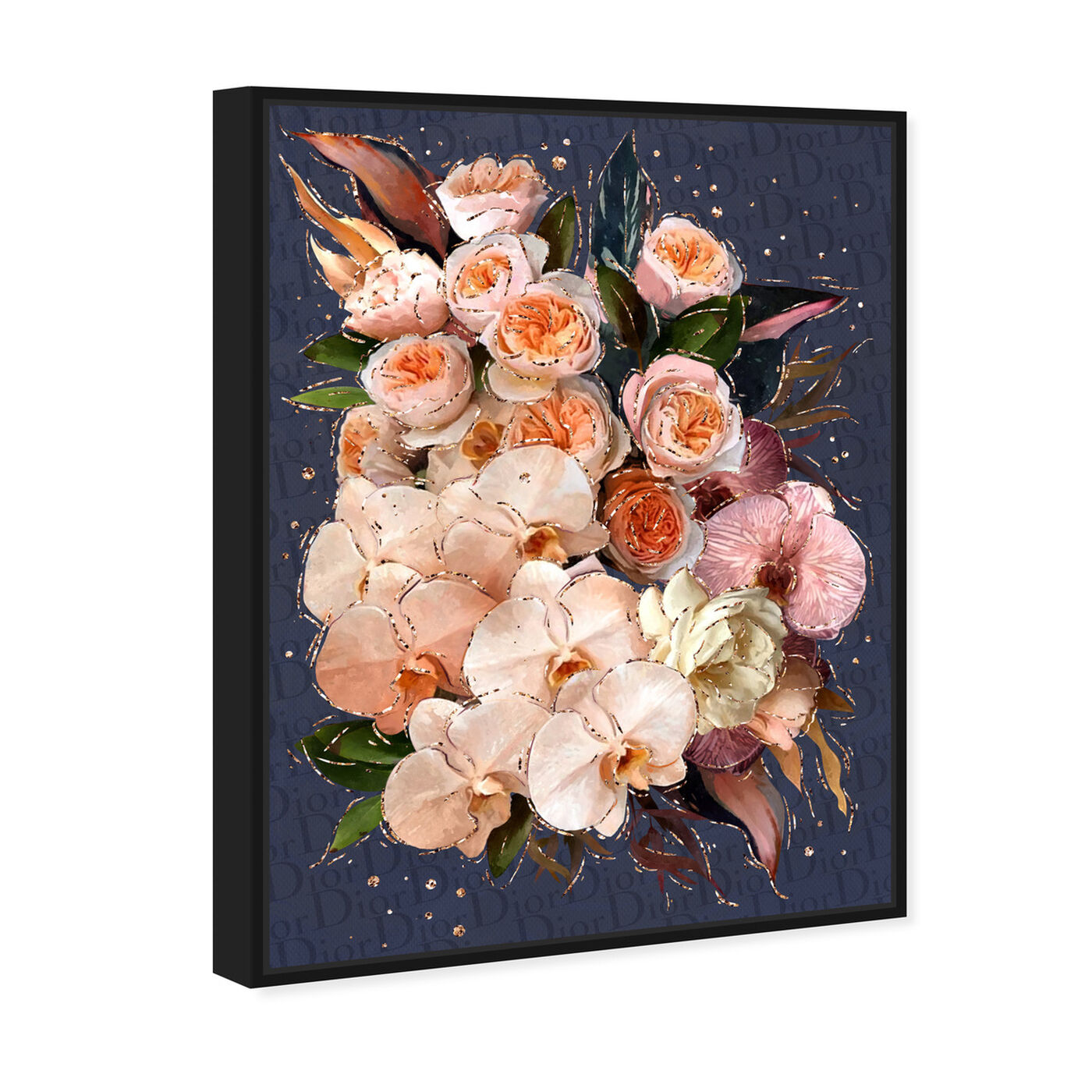 Angled view of Golden Creamy Bouquet featuring floral and botanical and florals art.