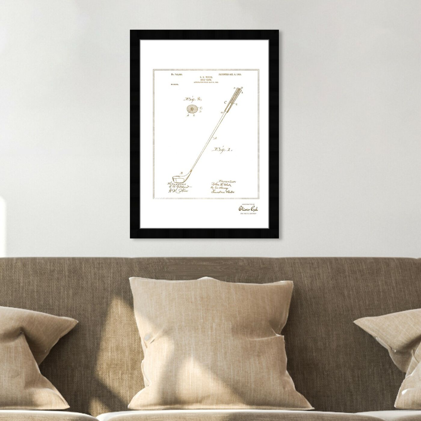 Hanging view of Golf Club 1903 I Gold featuring sports and teams and golf art.