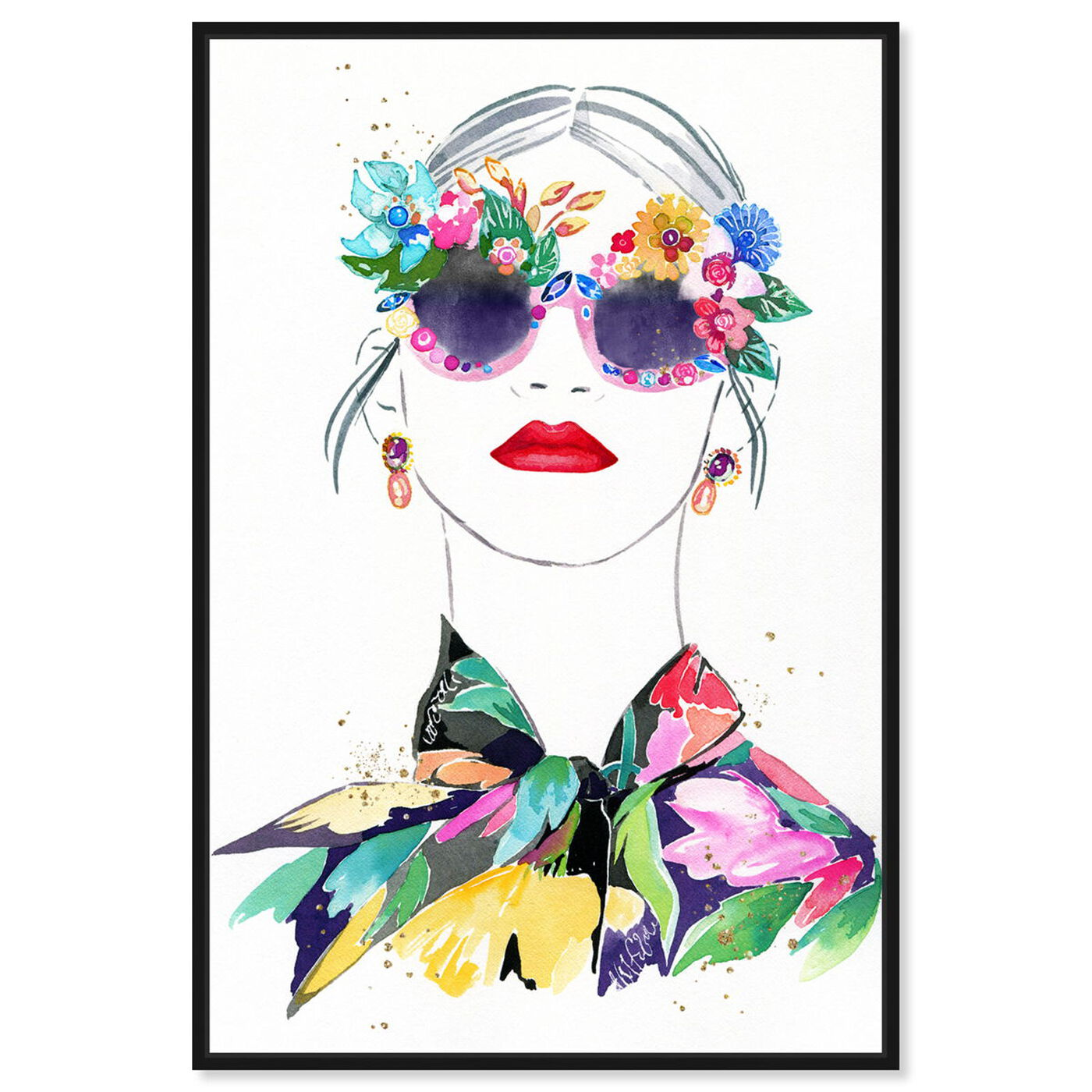 Front view of Botanical Blouse featuring fashion and glam and portraits art.