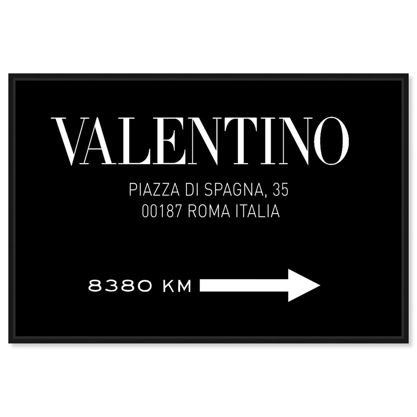 Front view of Piazza Road Sign Minimalist BW featuring fashion and glam and road signs art.