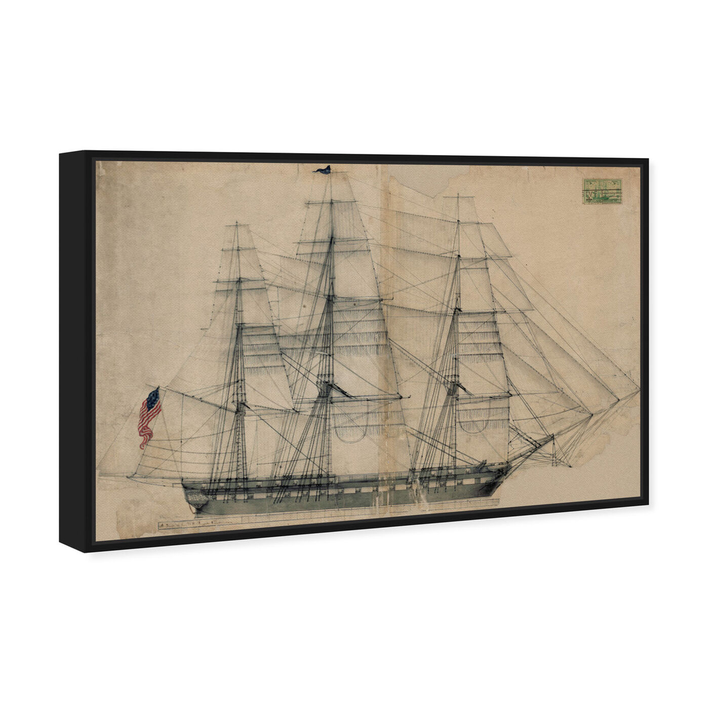 Angled view of USS Constitution Sail Plan 1817 featuring nautical and coastal and nautical watercrafts art.