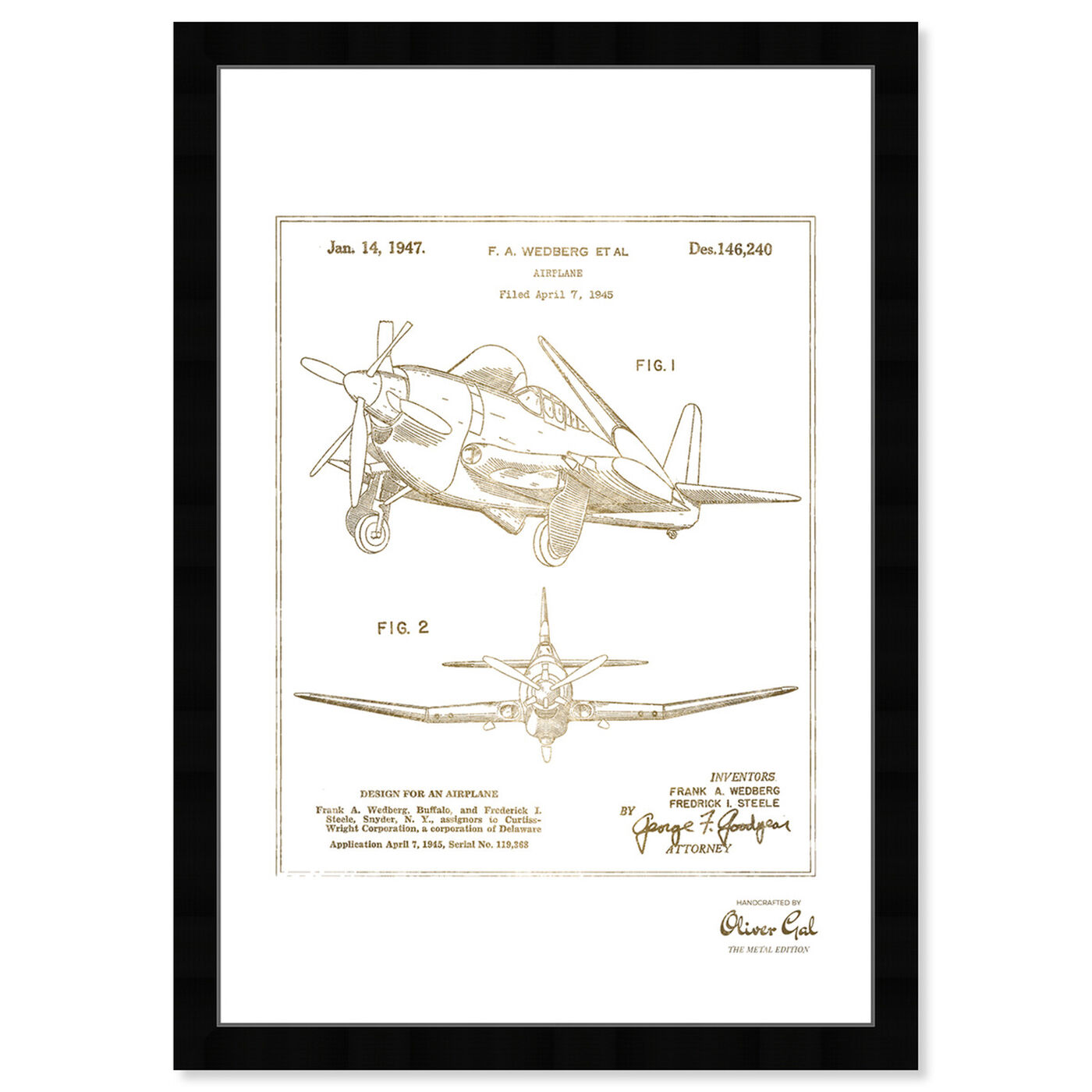Front view of Airplane 1947 II Gold featuring transportation and airplanes art.