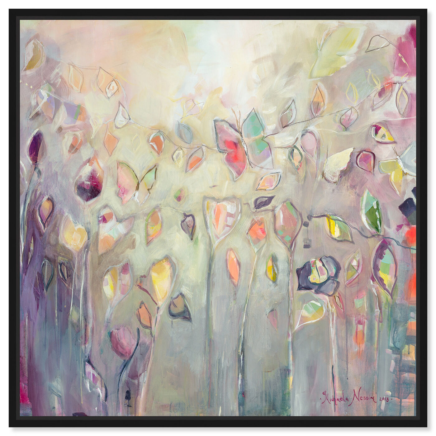 Front view of Butterfly Dance by Michaela Nessim Canvas Art featuring abstract and paint art.