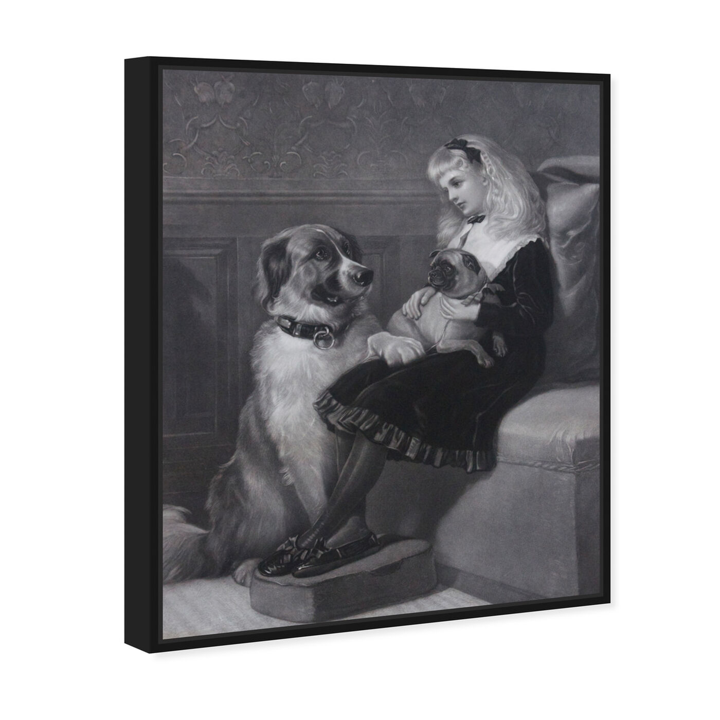 Angled view of H Hardy - Her only Playmates 1881 featuring animals and dogs and puppies art.