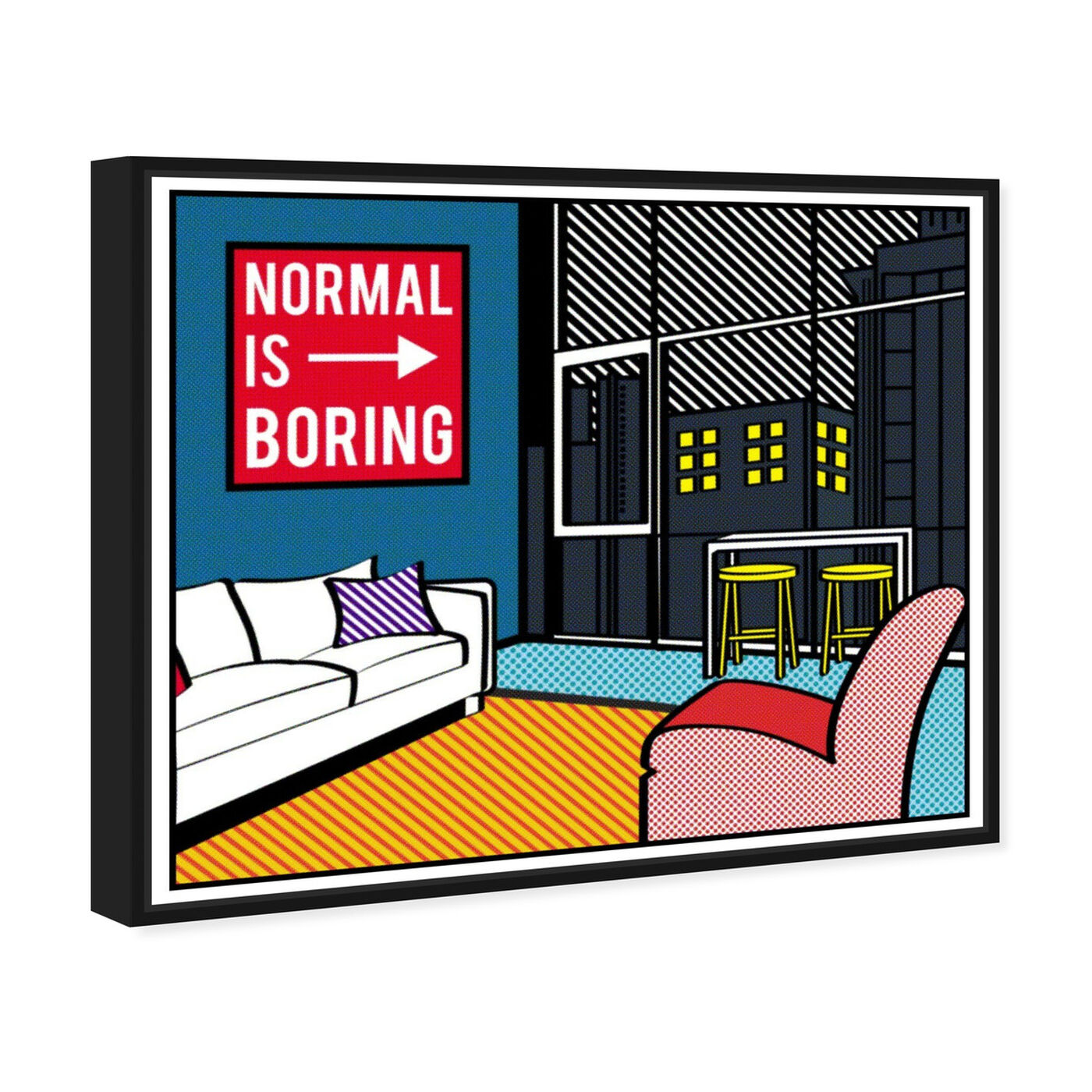 Angled view of Living In The City featuring advertising and comics art.