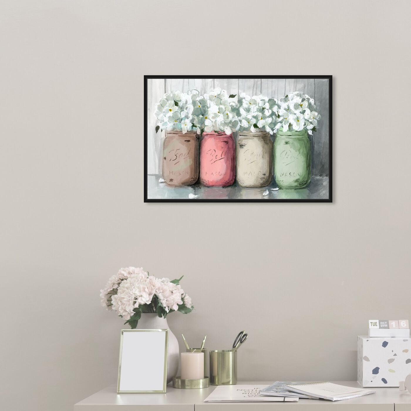 Hanging view of Mason Jar Muted featuring floral and botanical and florals art.