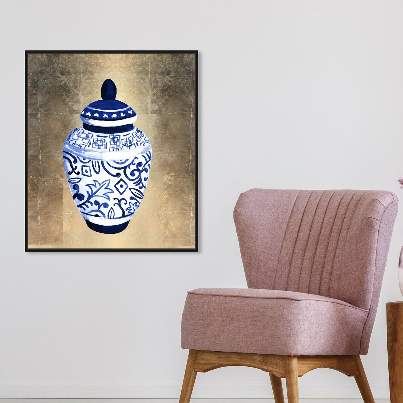 Hanging view of Chinese Porcelain featuring floral and botanical and florals art.